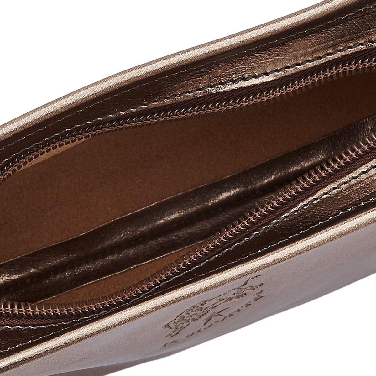 Women's Crossbody Bag in Metallic Leather BCR009 color Metallic Bronze | Details