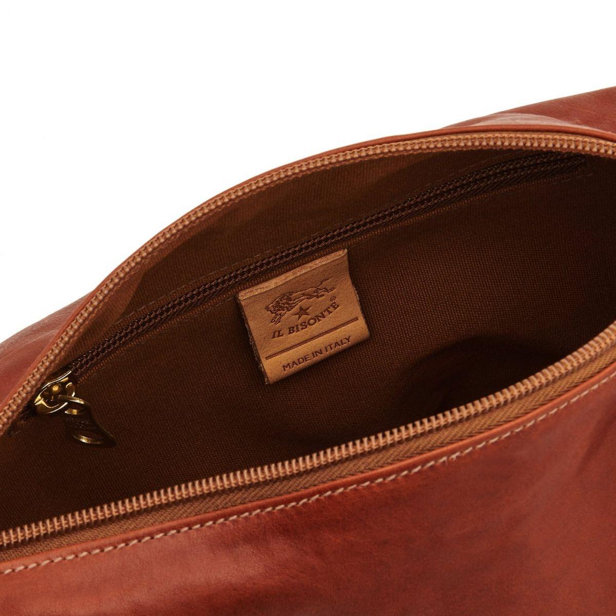 Sac Bandouliere pour Femme en Cuir De Vachette Vintage BCR012 couleur Brun Foncé Seppia | Details