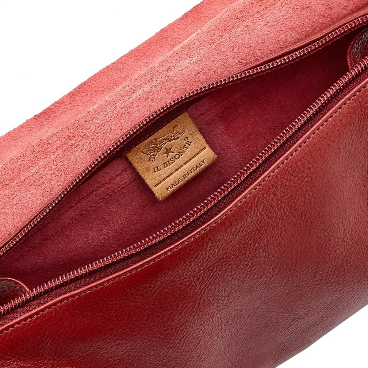 Women's Crossbody Bag in Cowhide Double Leather BCR015 color Red | Details