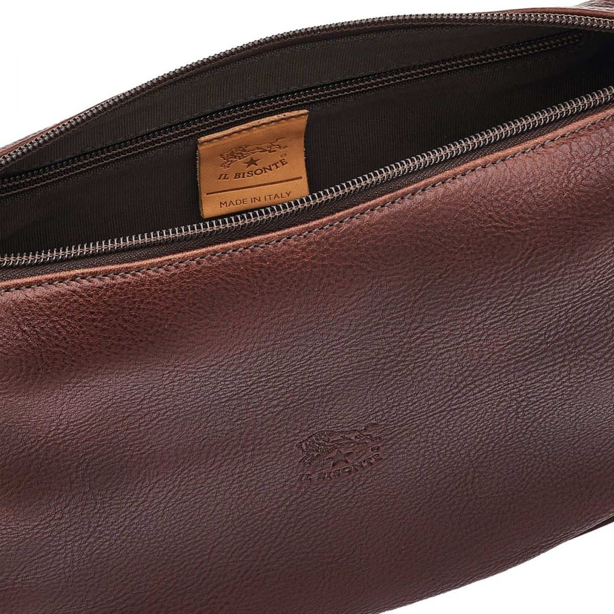 Women's Crossbody Bag in Vintage Cowhide Leather BCR021 color Dark Brown | Details