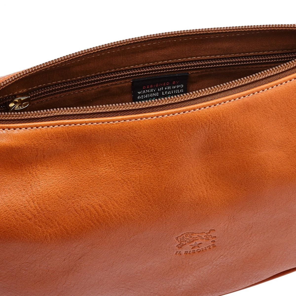 Women's Crossbody Bag in Cowhide Double Leather BCR021 color Caramel | Details