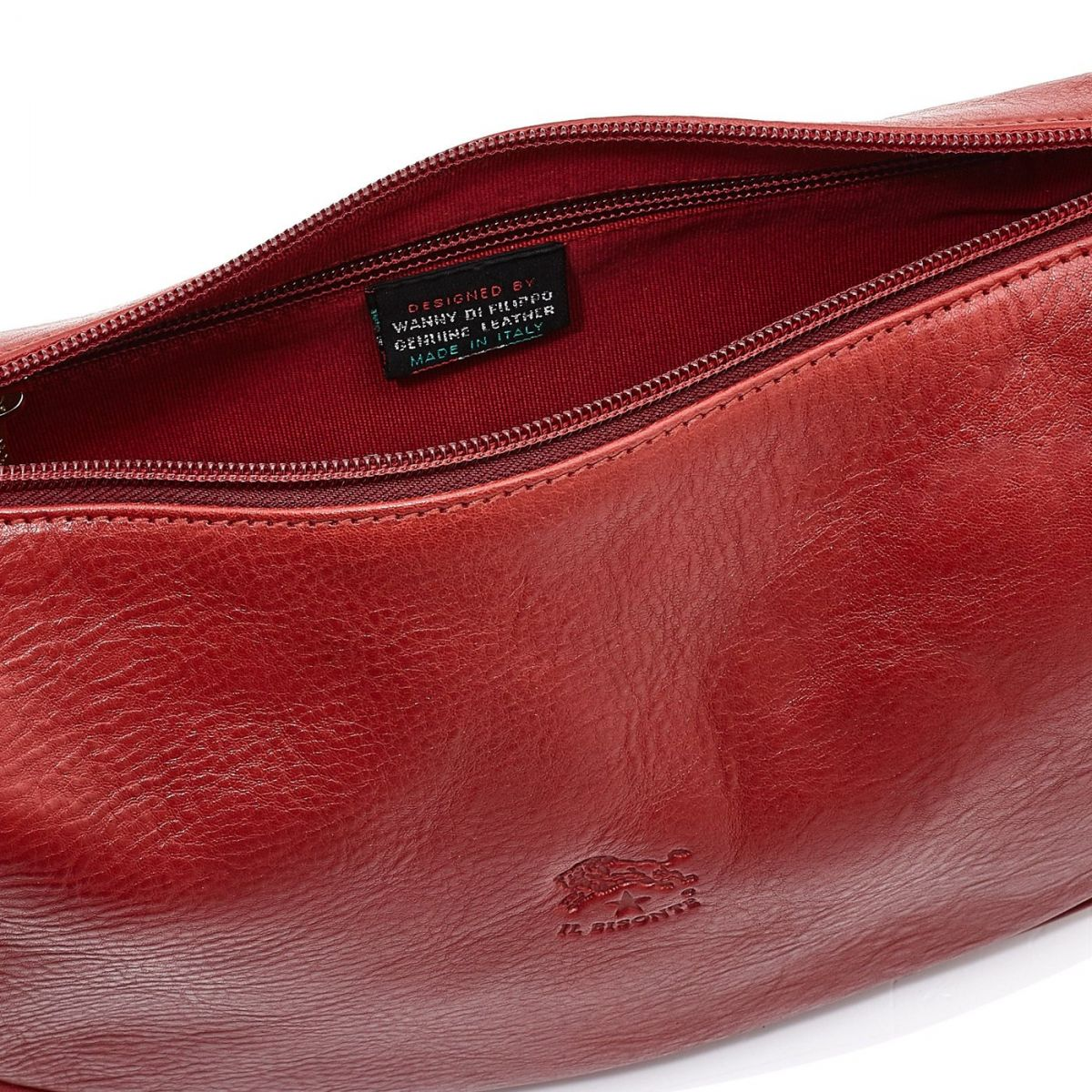 Women's Crossbody Bag in Cowhide Double Leather BCR021 color Red | Details