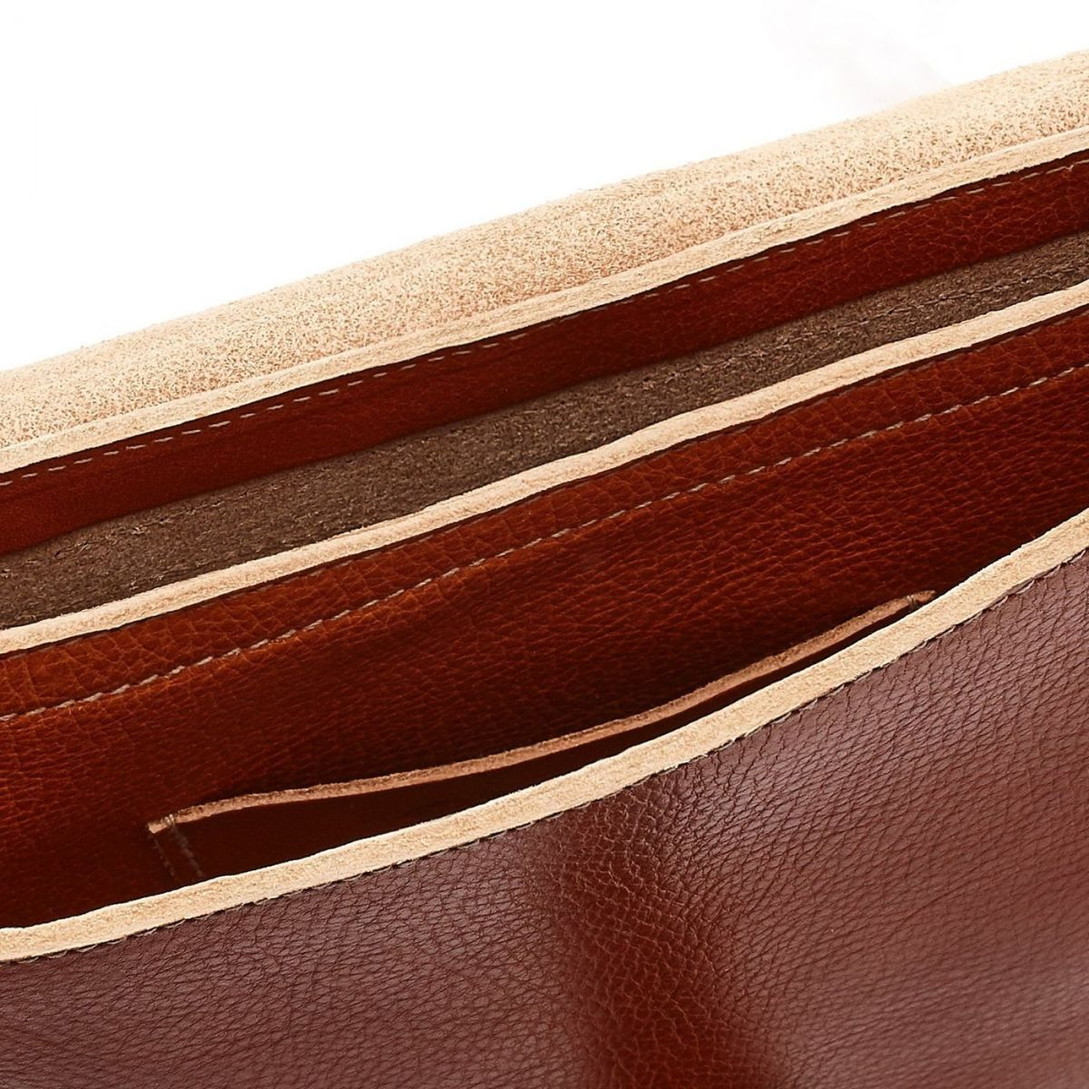 Women's Crossbody Bag in Cowhide Double Leather BCR027 color Caramel | Details