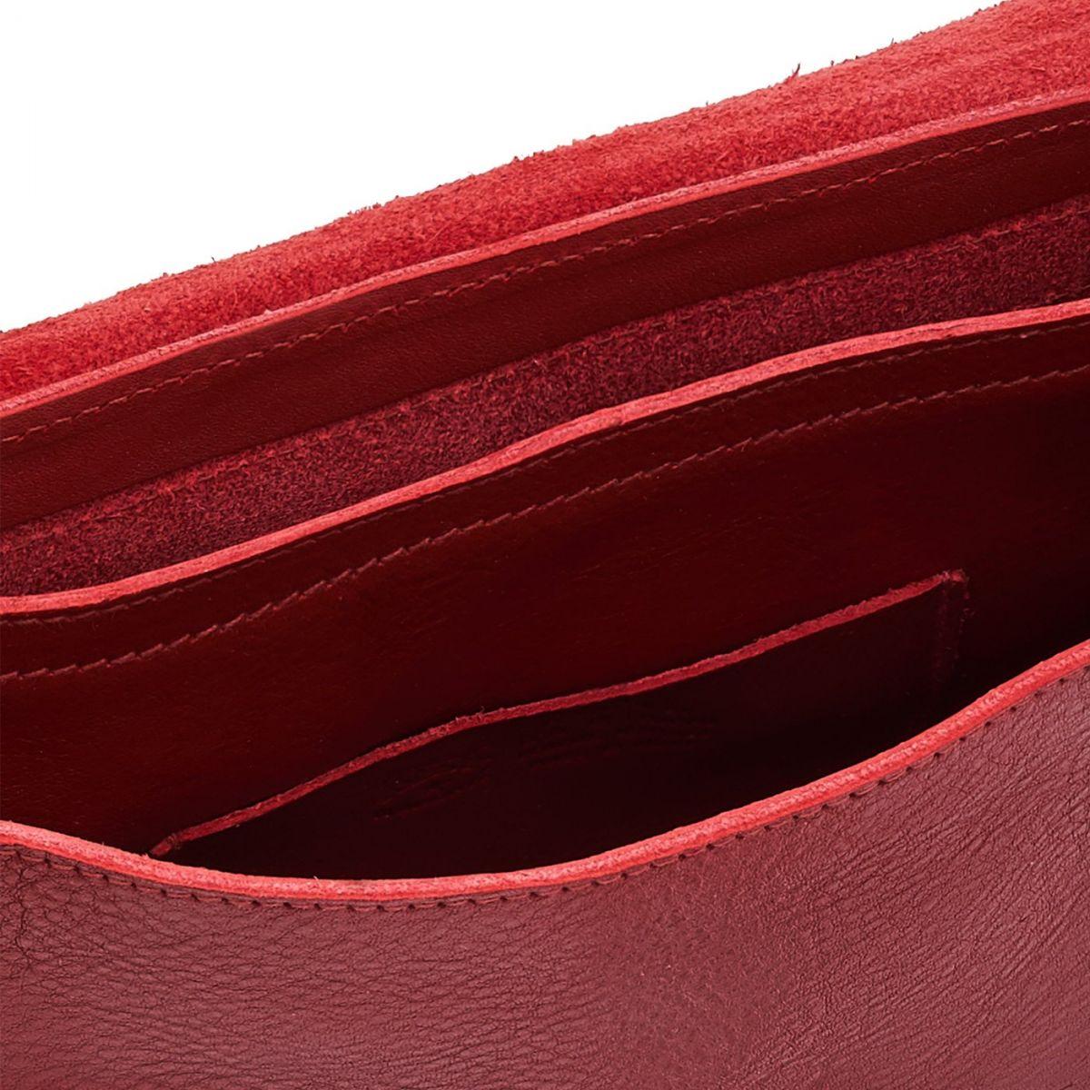 Sac Bandouliere pour Femme en Cuir De Vachette Doublé BCR027 couleur Rouge | Details