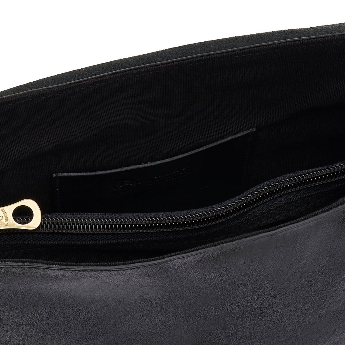 Sac Bandouliere pour Femme en Cuir De Vachette Doublé BCR028 couleur Noir | Details