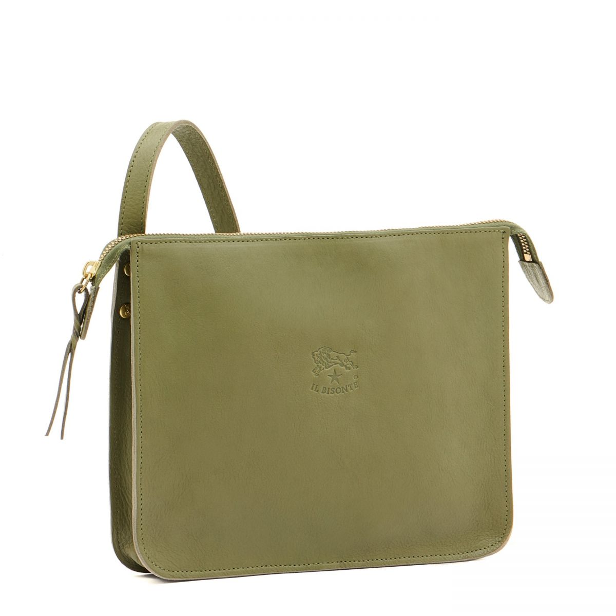 Women's Crossbody Bag in Cowhide Leather BCR046 color Green | Details
