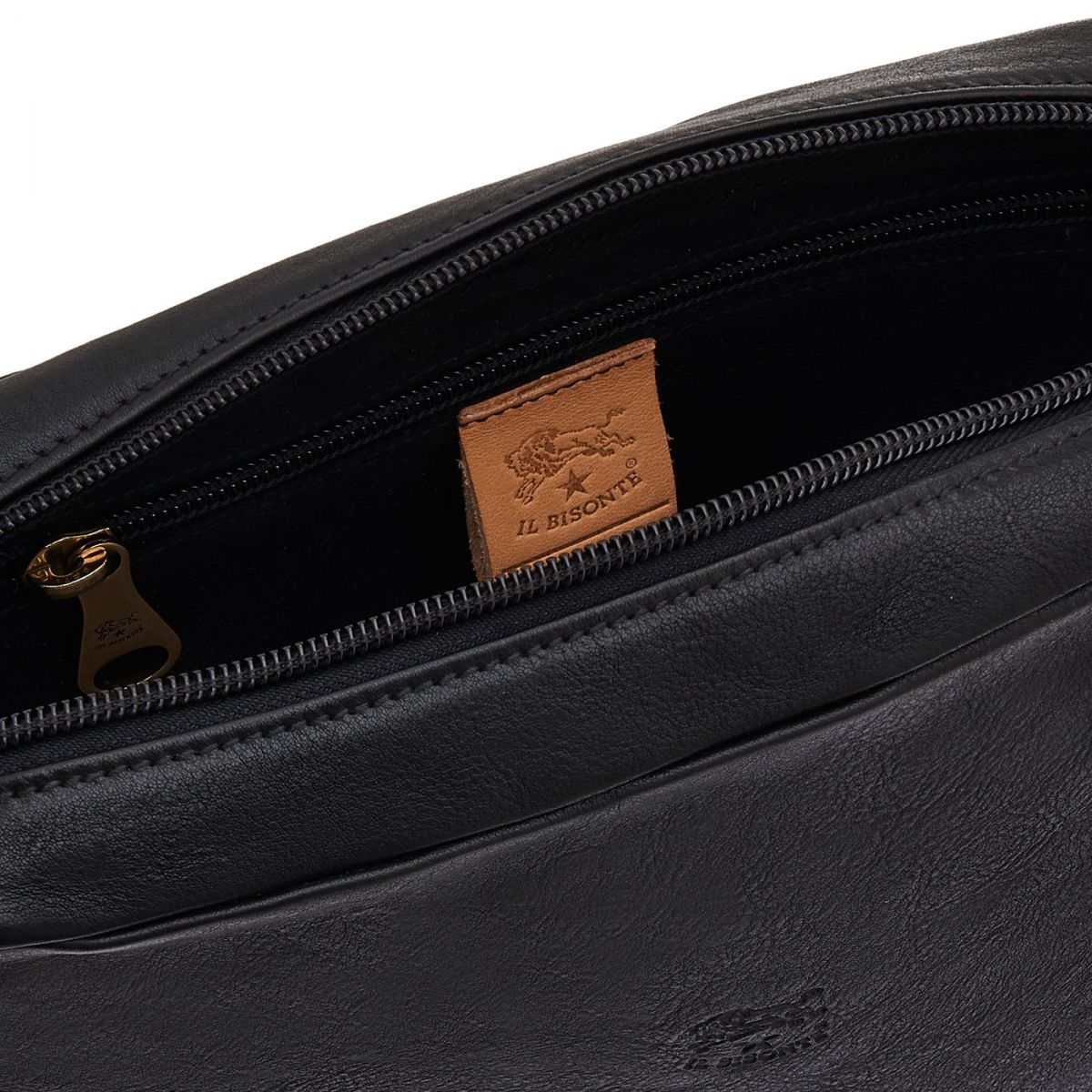 Men's Crossbody Bag New Icon in Vintage Cowhide Leather BCR056 color Black | Details