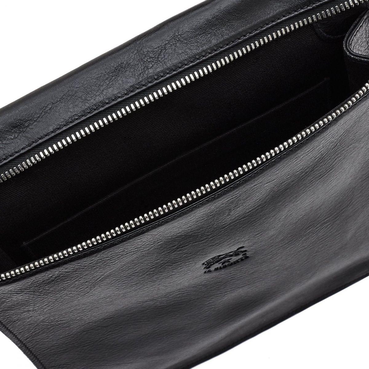 Men's Crossbody Bag in Cowhide Double Leather BCR067 color Black | Details