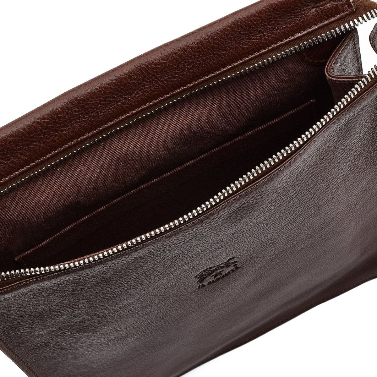 Men's Crossbody Bag in Cowhide Double Leather BCR067 color Brown | Details