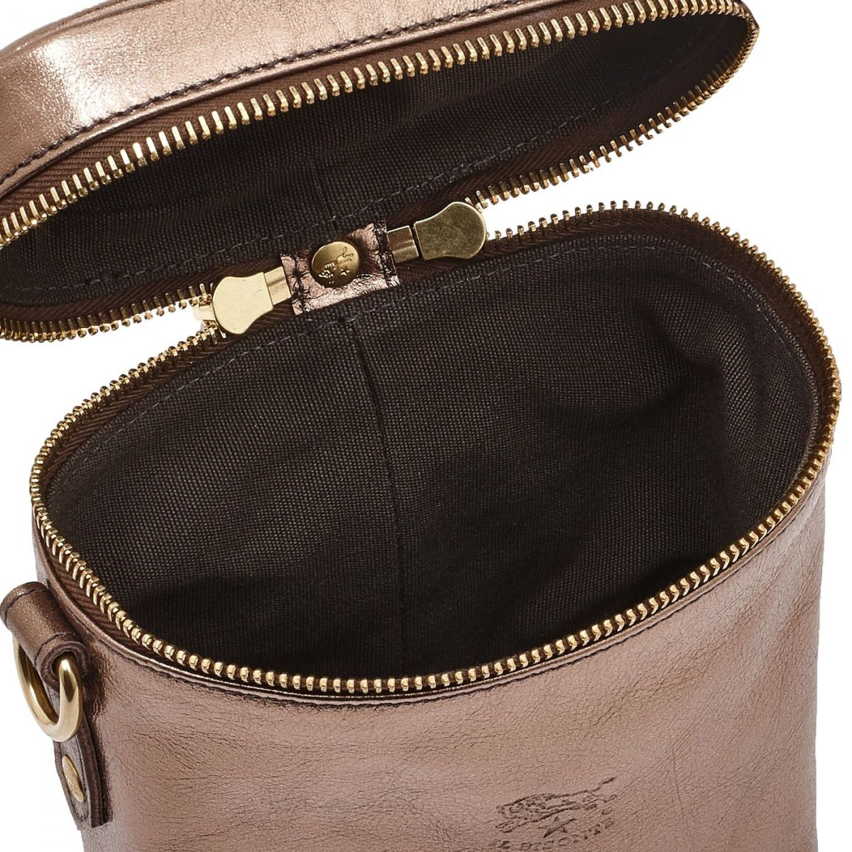 Women's Crossbody Bag Pratolino in Metallic Leather BCR084 color Metallic Bronze | Details