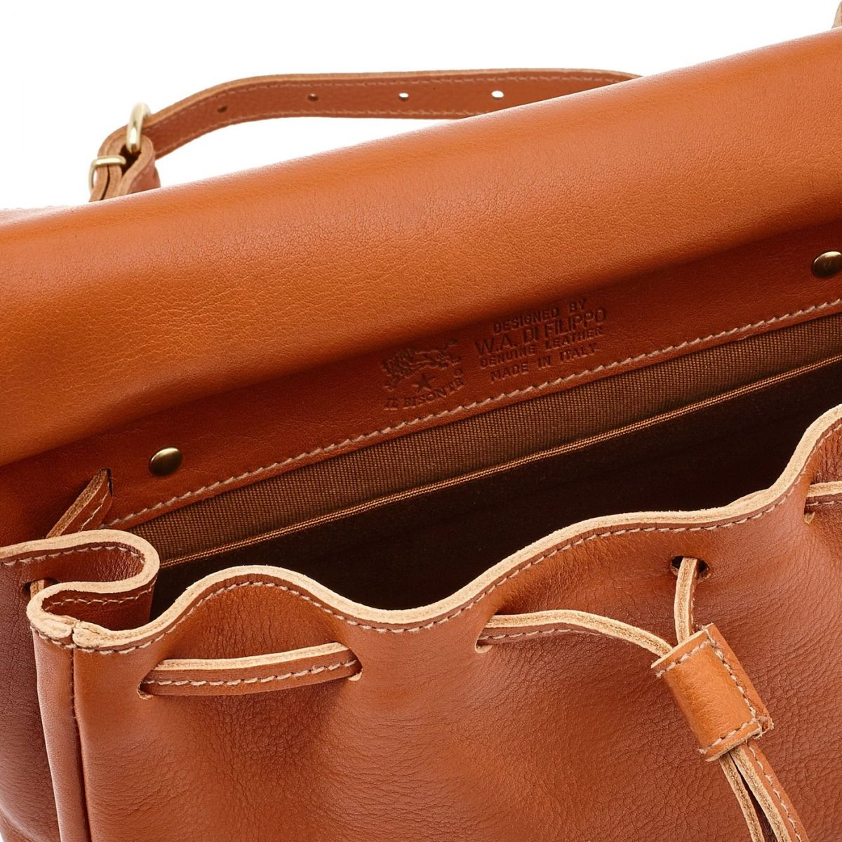 Women's Crossbody Bag Tornabuoni in Cowhide Double Leather BCR086 color Caramel | Details