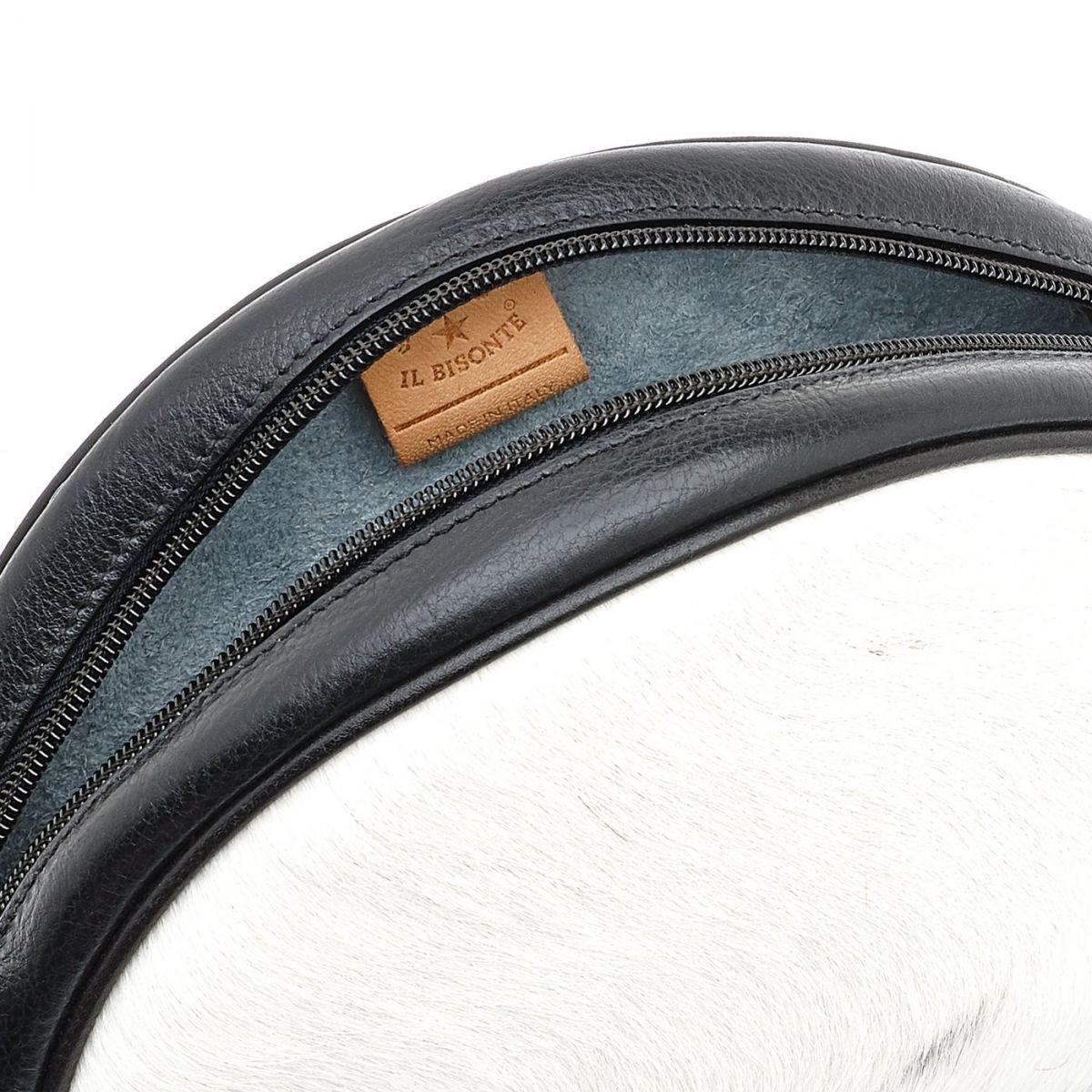 Disco Bag - Women's Crossbody Bag  in Cowhide Leather BCR094 color Dappled/Black | Details