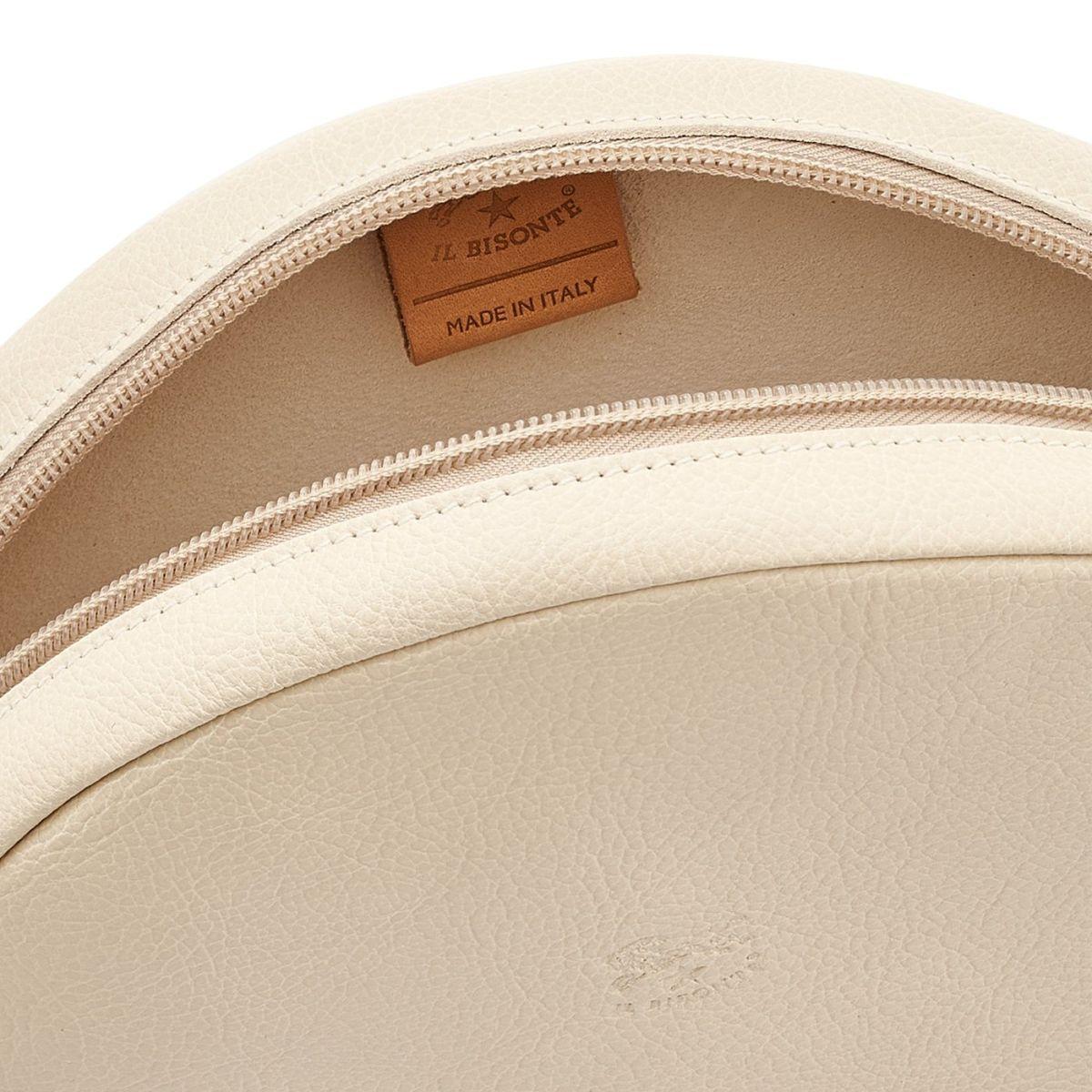 Disco Bag - Borsa A Tracolla da Donna in Pelle Di Vacchetta colore Avorio - Linea Candy BCR094 | Details