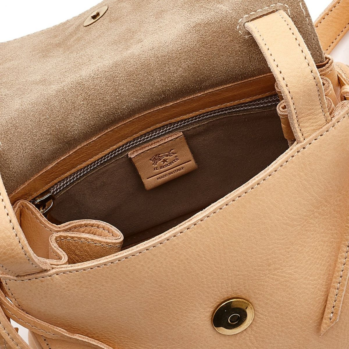 Women's Crossbody Bag Soffietto in Cowhide Leather BCR126 color Natural | Details