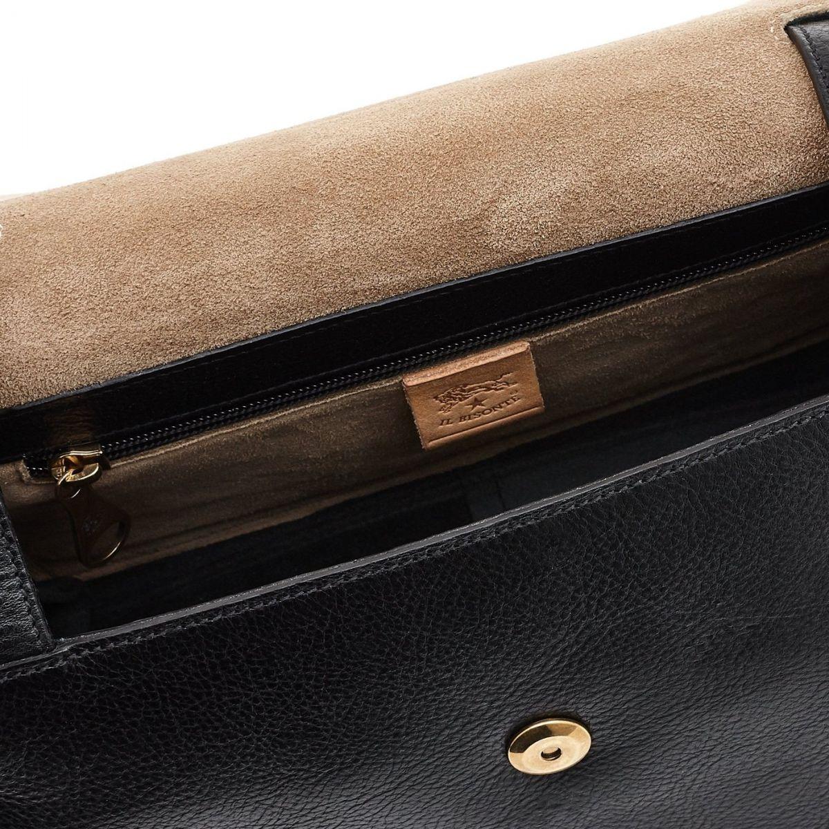 Sac Bandouliere pour Femme Soffietto en Cuir De Vachette BCR127 couleur Noir | Details