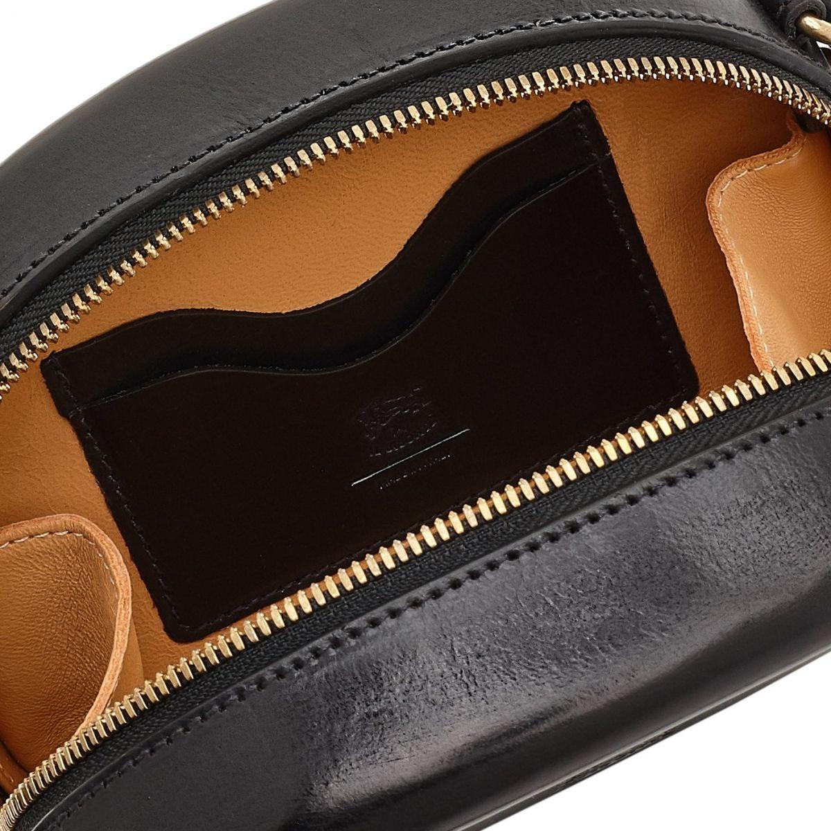 Women's Crossbody Bag  in Leather BCR147 color Black | Details