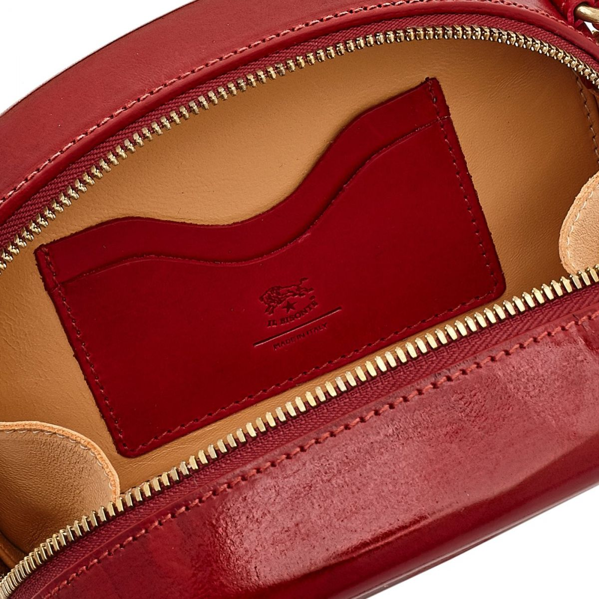 Women's Crossbody Bag  in Leather BCR147 color Red | Details