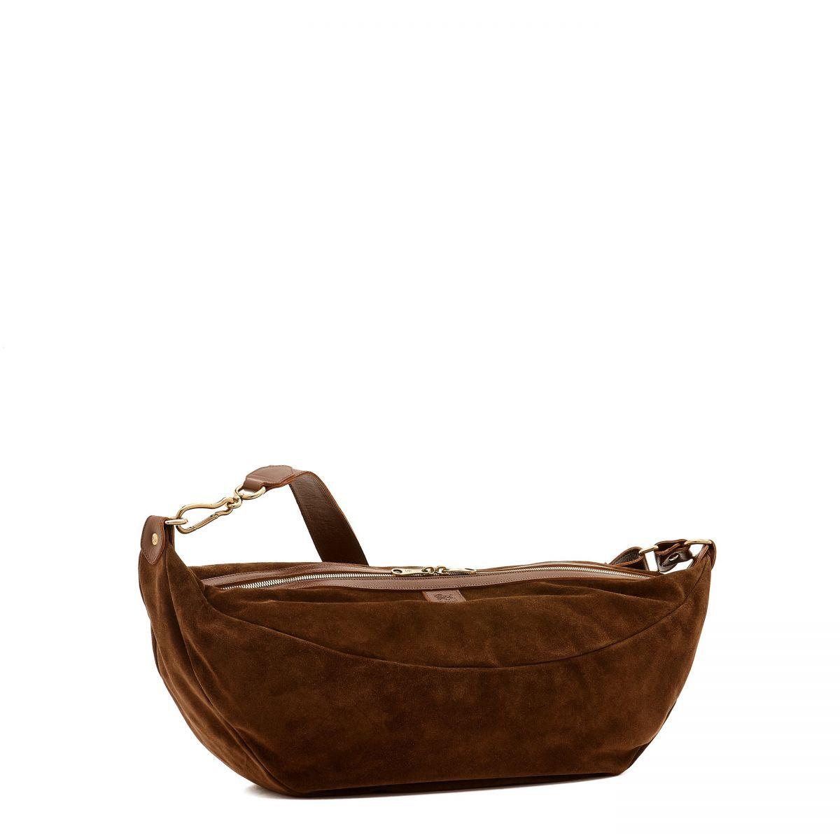 Women's Crossbody Bag  in Suede BCR153 color Brown | Details