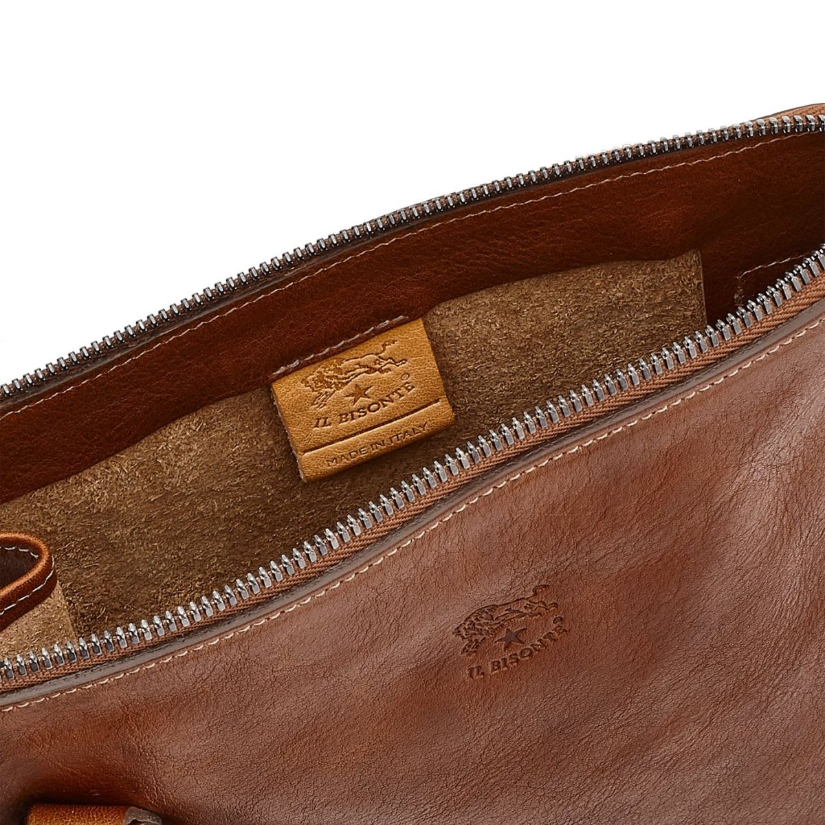 Men's Crossbody Bag Marea in Vintage Cowhide Leather BCR169 color Chocolate | Details