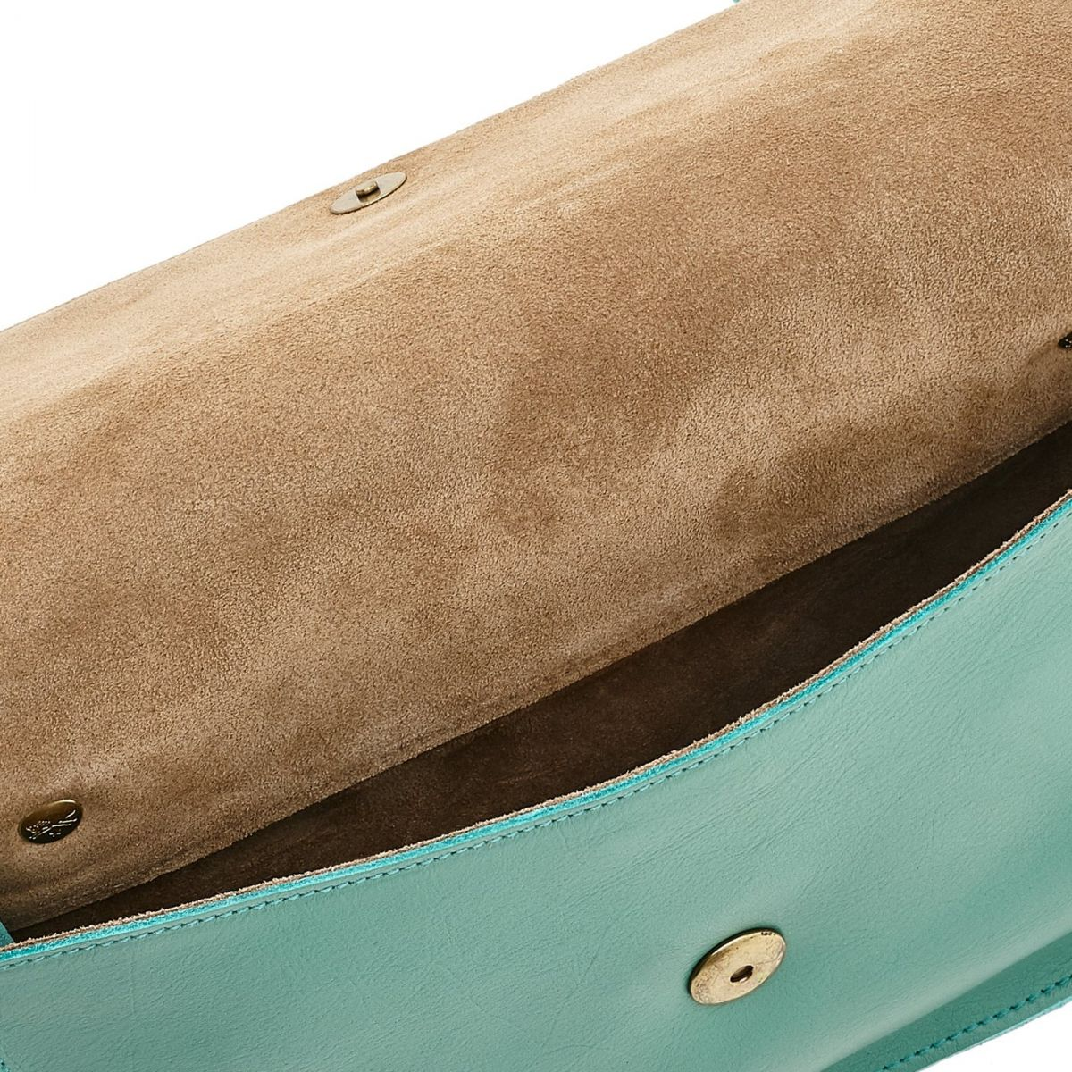 Women's Crossbody Bag Salina in Cowhide Leather BCR173 color Milk / Mint | Details