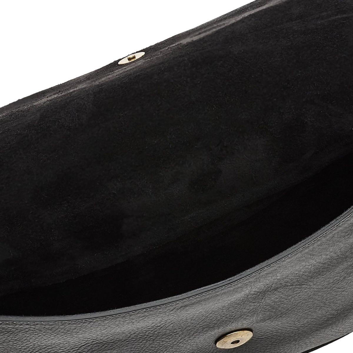 Borsa A Tracolla da Donna Salina in Pelle Di Vacchetta BCR173 colore Nero | Details