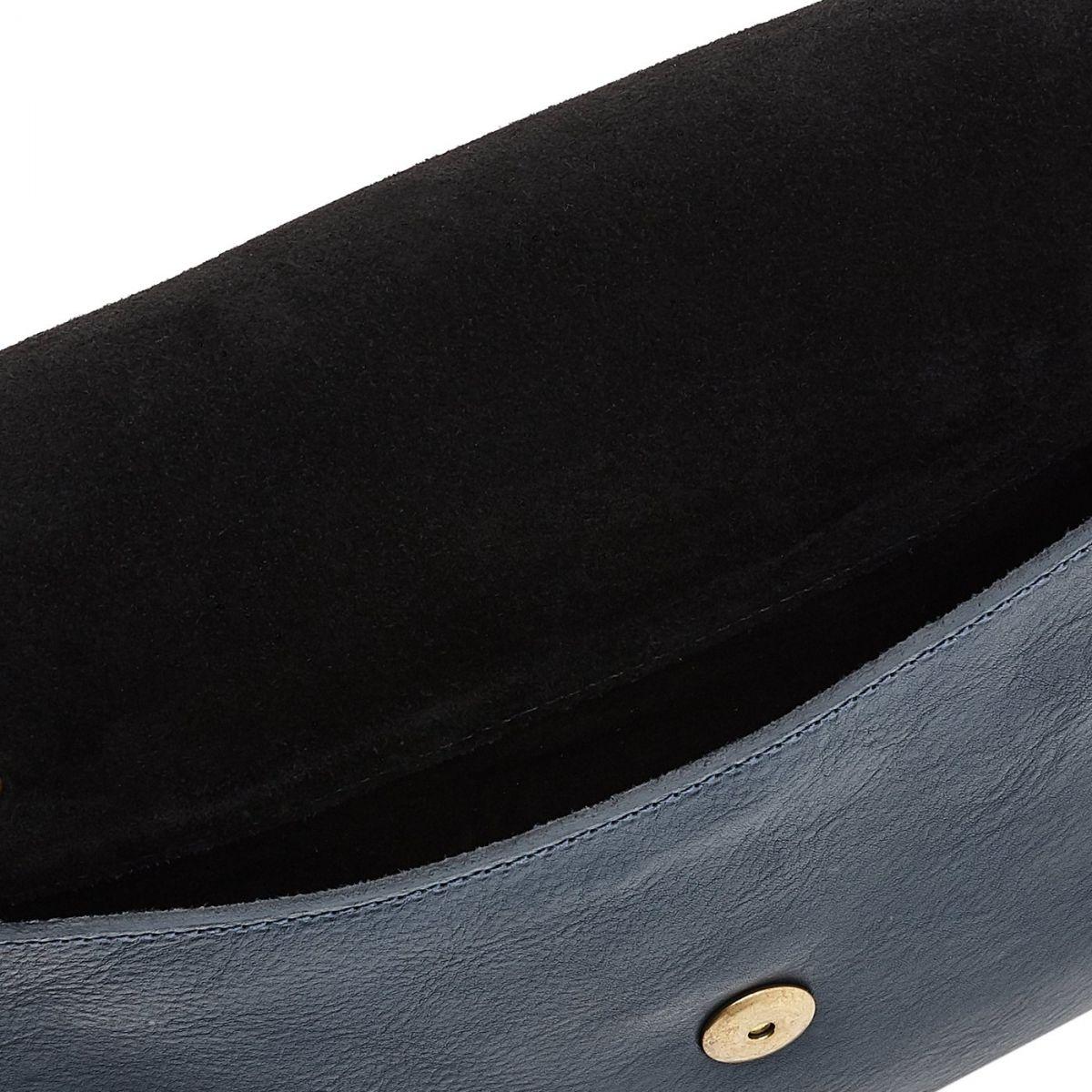 Sac Bandouliere pour Femme Salina en Cuir De Vachette BCR173 couleur Bleu | Details