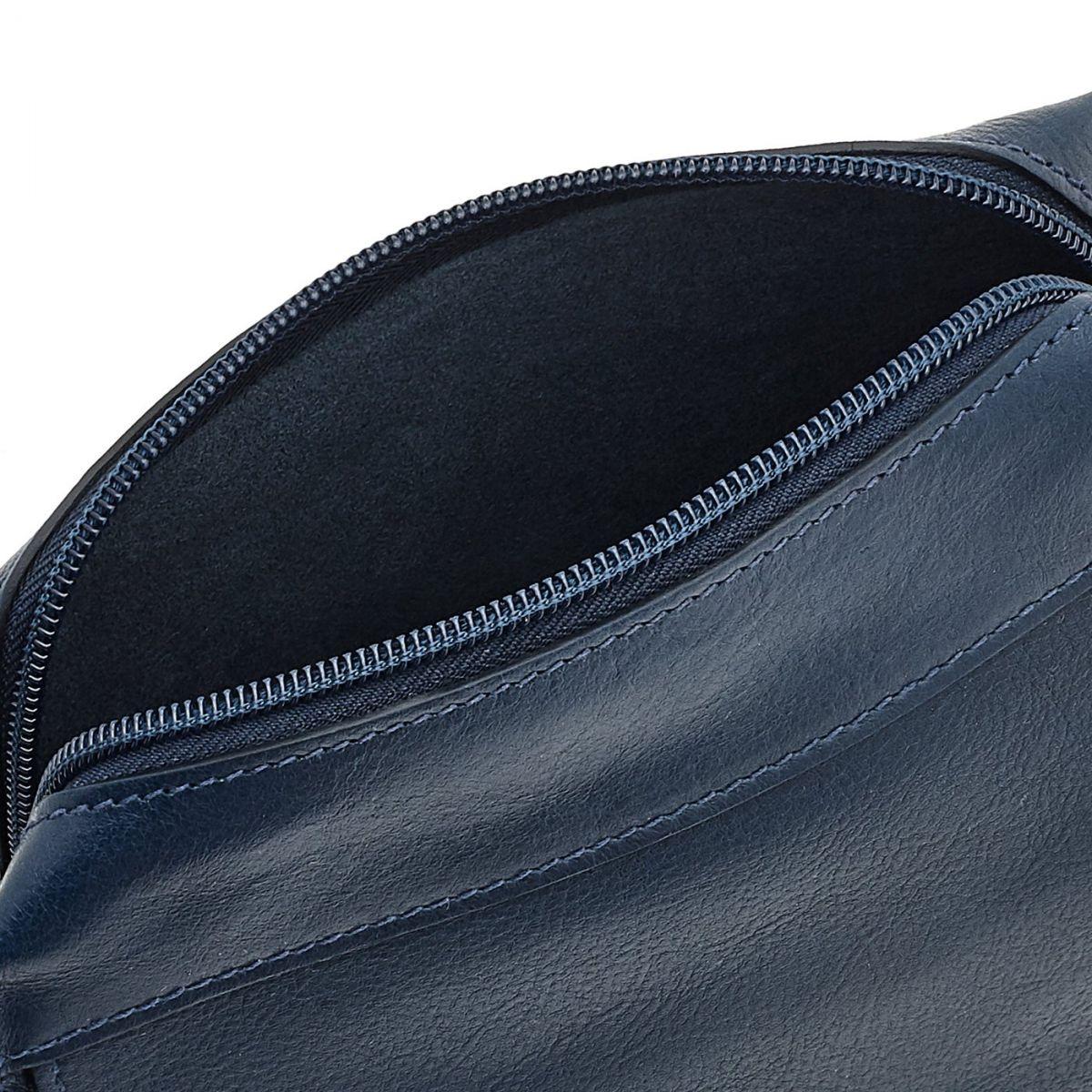 Borsa A Tracolla da Donna Salina in Pelle Di Vacchetta BCR174 colore Blu | Details