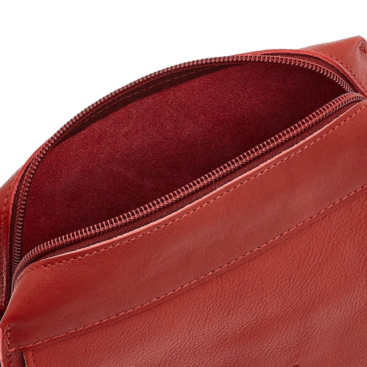 Borsa A Tracolla da Donna Salina in Pelle Di Vacchetta BCR174 colore Rosso | Details