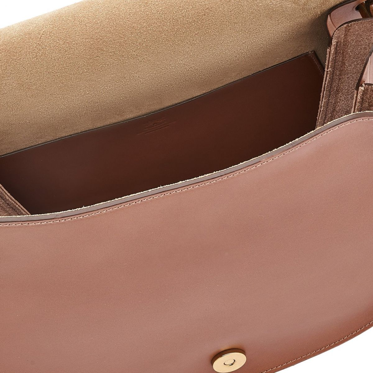 Women's Crossbody Bag in Cowhide Leather color Chocolate - Consuelo line BCR193 | Details