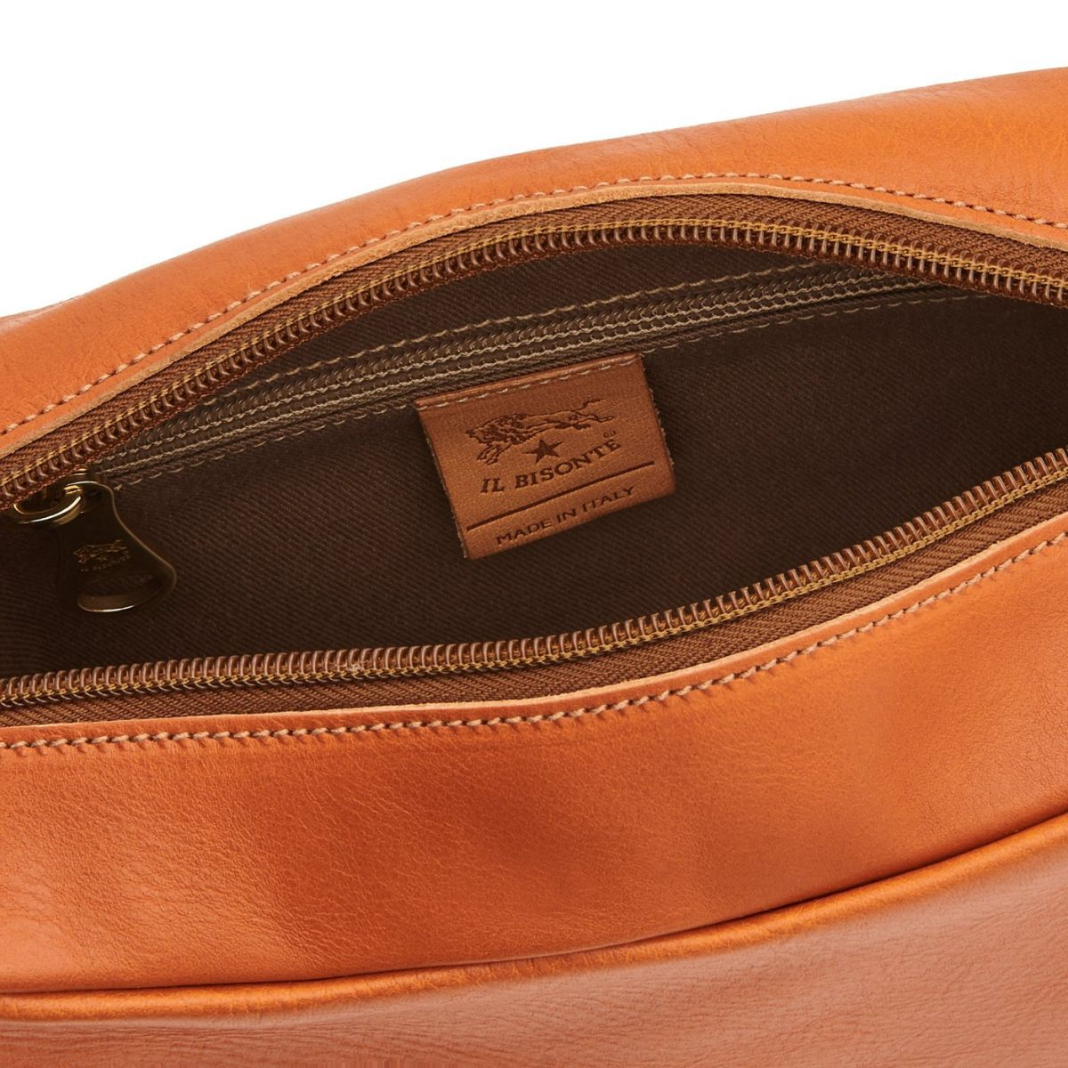 Women's Crossbody Bag Salina in Cowhide Leather BCR199 color Caramel | Details