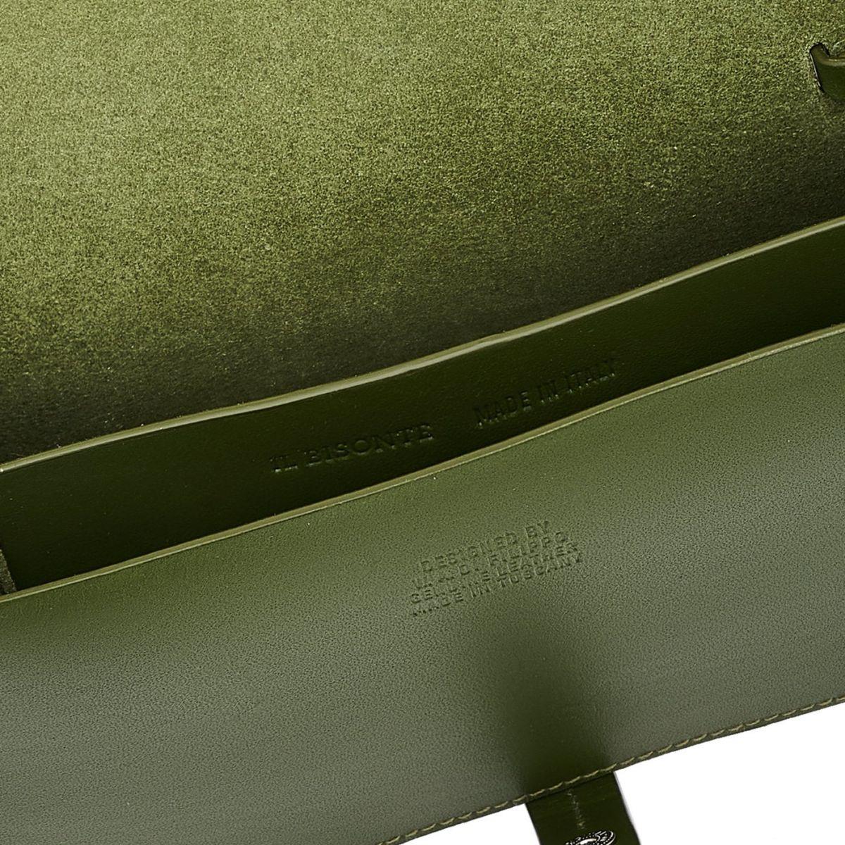 Piccarda Small - Borsa A Tracolla da Donna in Pelle Di Vacchetta colore Verde - Linea Tondina BCR246 | Details