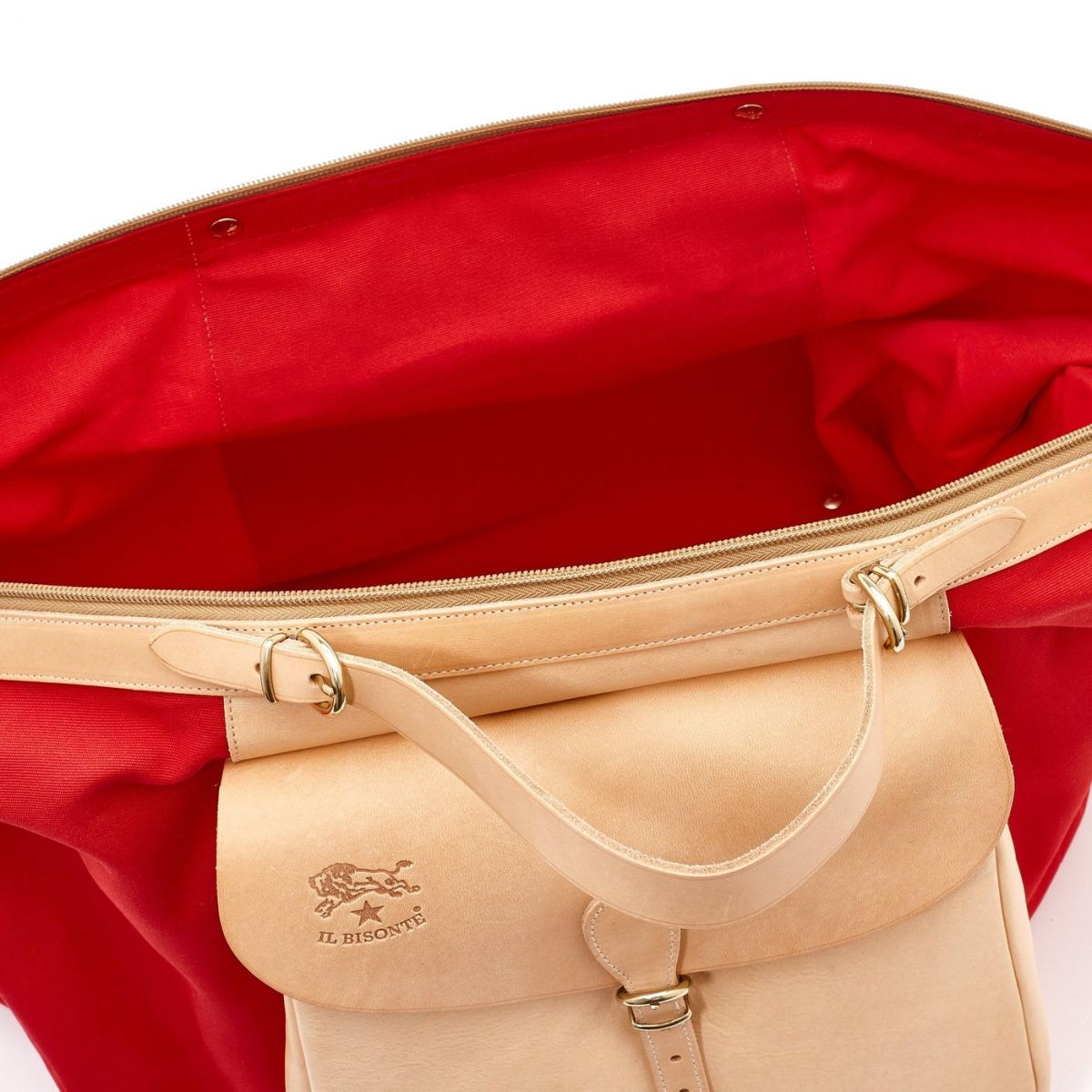 Maremmana  - Travel Bag  in Cotton Canvas BDU005 color Red/Natural | Details