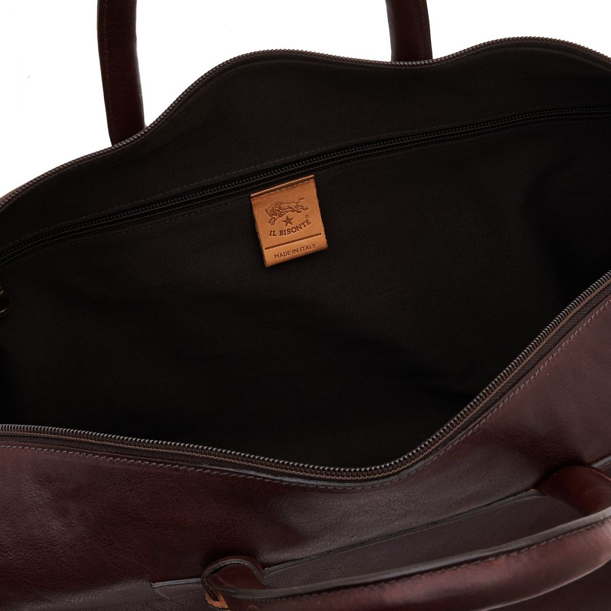 Travel Bag in Vintage Cowhide Leather BDU010 color Dark Brown | Details