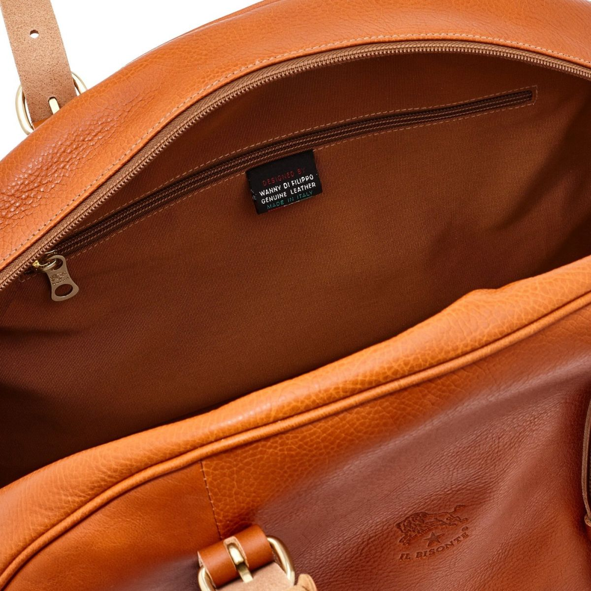 Travel Bag in Cowhide Double Leather BDU011 color Caramel | Details