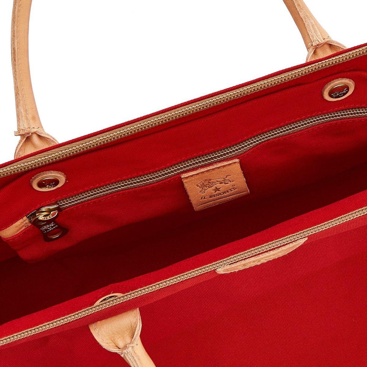 Vagabonda  - Travel Bag  in Cotton Canvas BDU028 color Red/Natural | Details