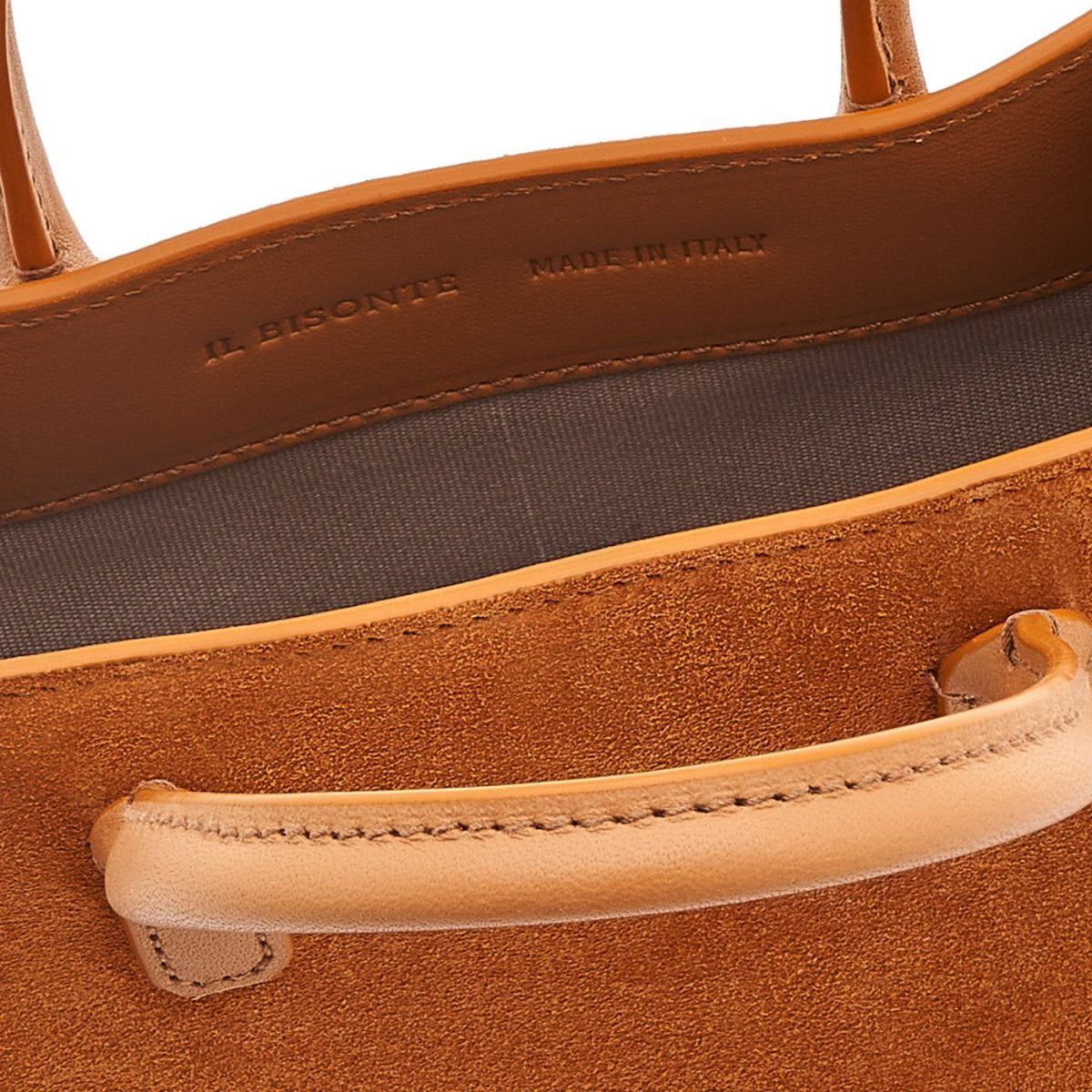 Sole Mini - Women's Handbag in Vegetable Tanned Cowhide Leather/Re-Suede color Natural/Brown - Fifty On line BHA009 | Details