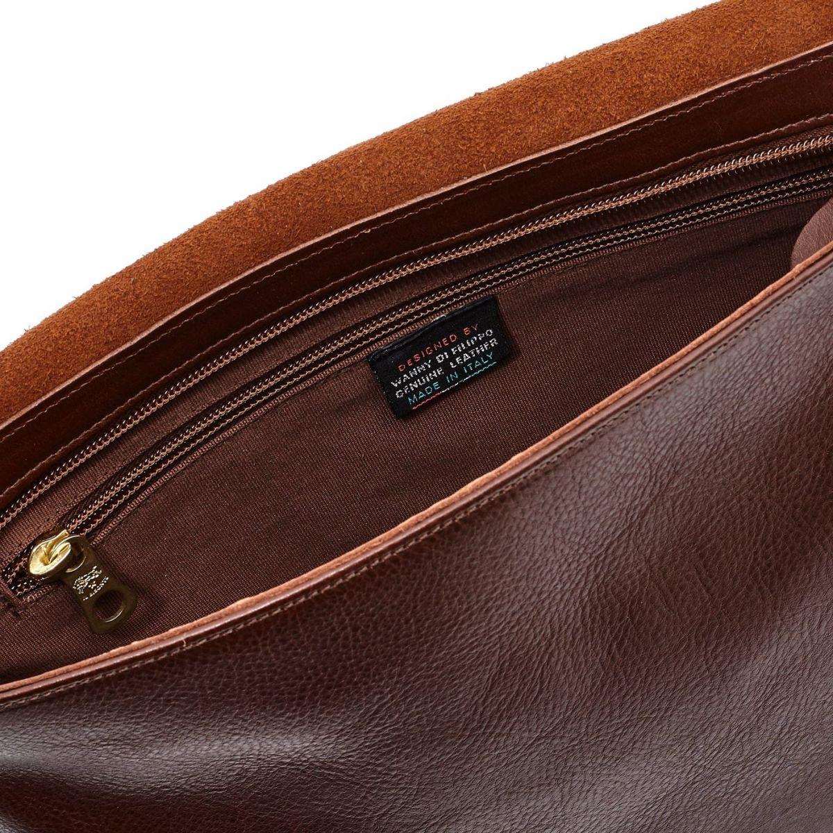 Sac Messenger pour Homme en Cuir De Vachette Doublé BME001 couleur Brun | Details