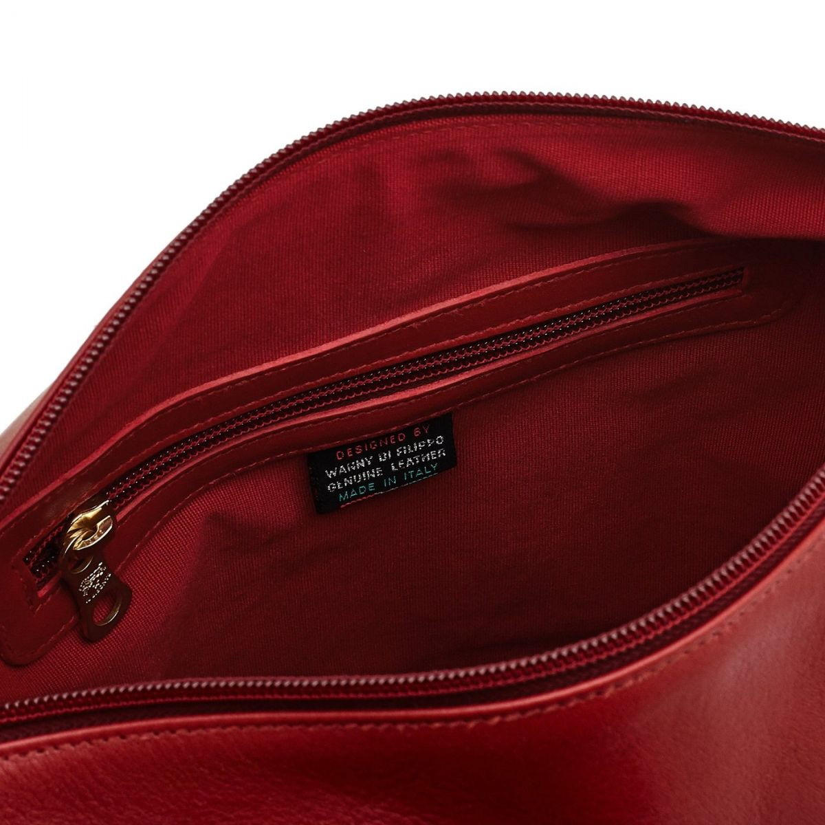 Women's Shoulder Bag in Cowhide Double Leather BSH004 color Red | Details