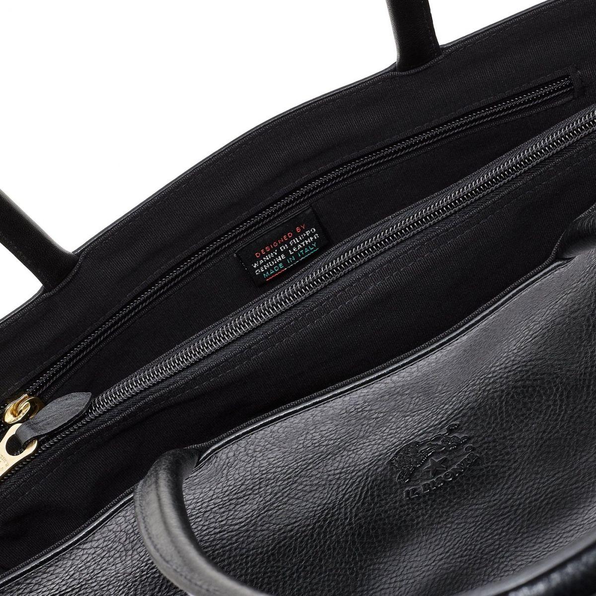 Women's Shoulder Bag in Cowhide Double Leather BSH007 color Black | Details