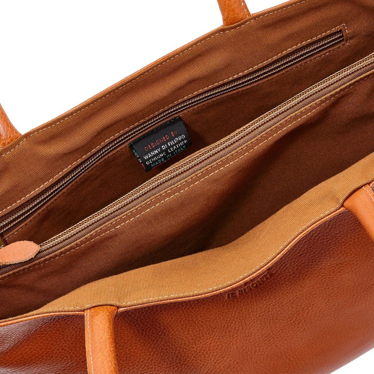 Women's Shoulder Bag in Cowhide Double Leather BSH007 color Caramel | Details