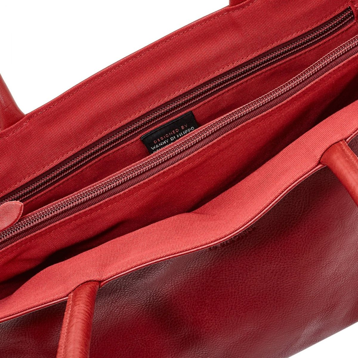 Women's Shoulder Bag in Cowhide Double Leather BSH007 color Red | Details