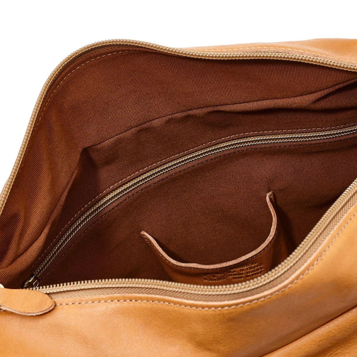Women's Shoulder Bag in Vintage Cowhide Leather BSH021 color Natural | Details