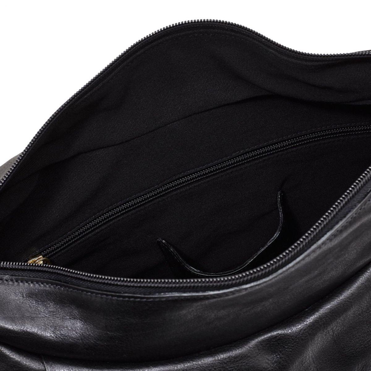 Women's Shoulder Bag in Vintage Cowhide Leather BSH021 color Black | Details