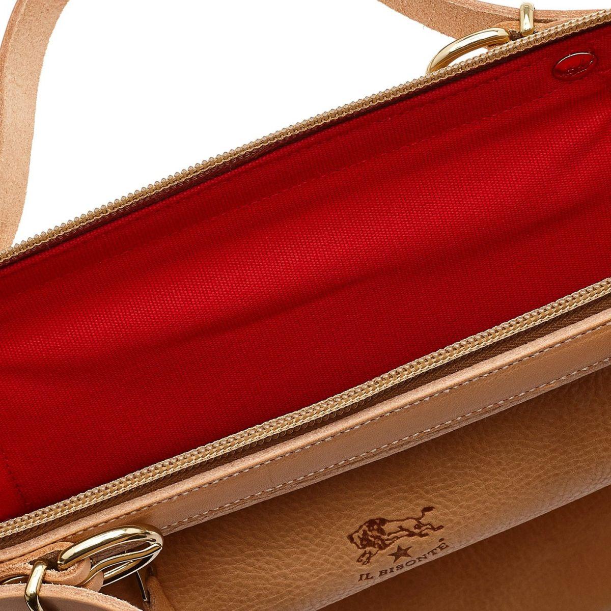 Caramella  - Sac Epaule pour Femme  en Cotton Canvas BSH025 couleur Rouge/Naturel | Details