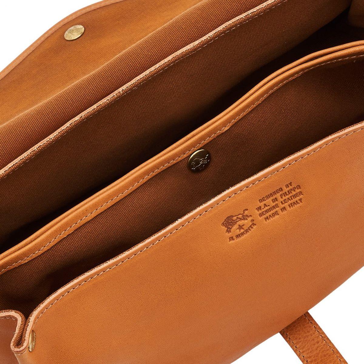 Women's Shoulder Bag in Vintage Cowhide Leather BSH034 color Natural | Details