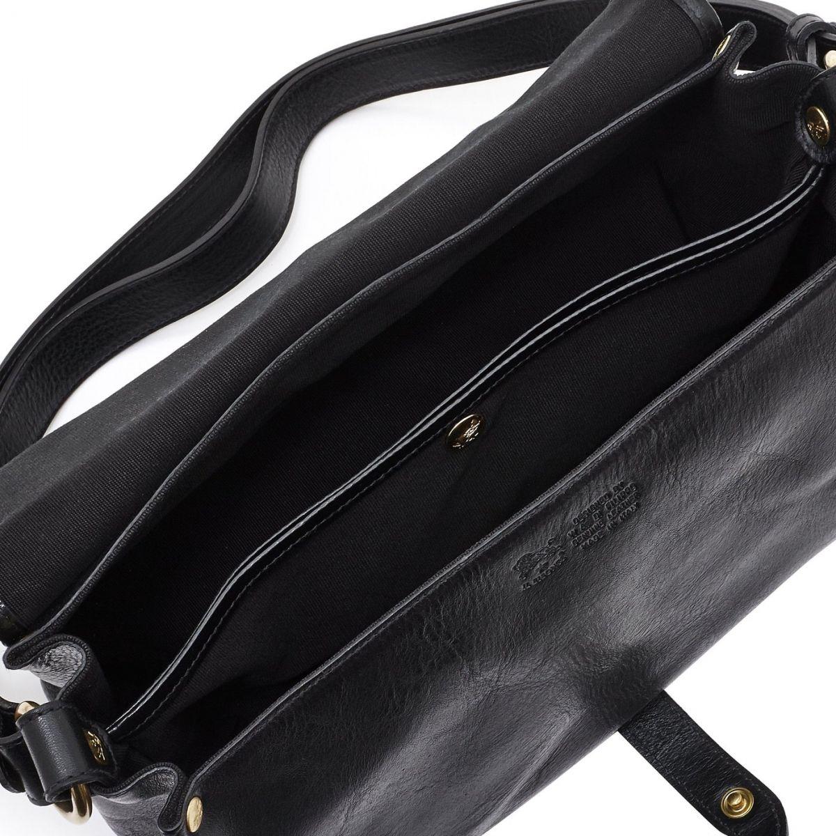 Women's Shoulder Bag in Cowhide Double Leather BSH034 color Black | Details