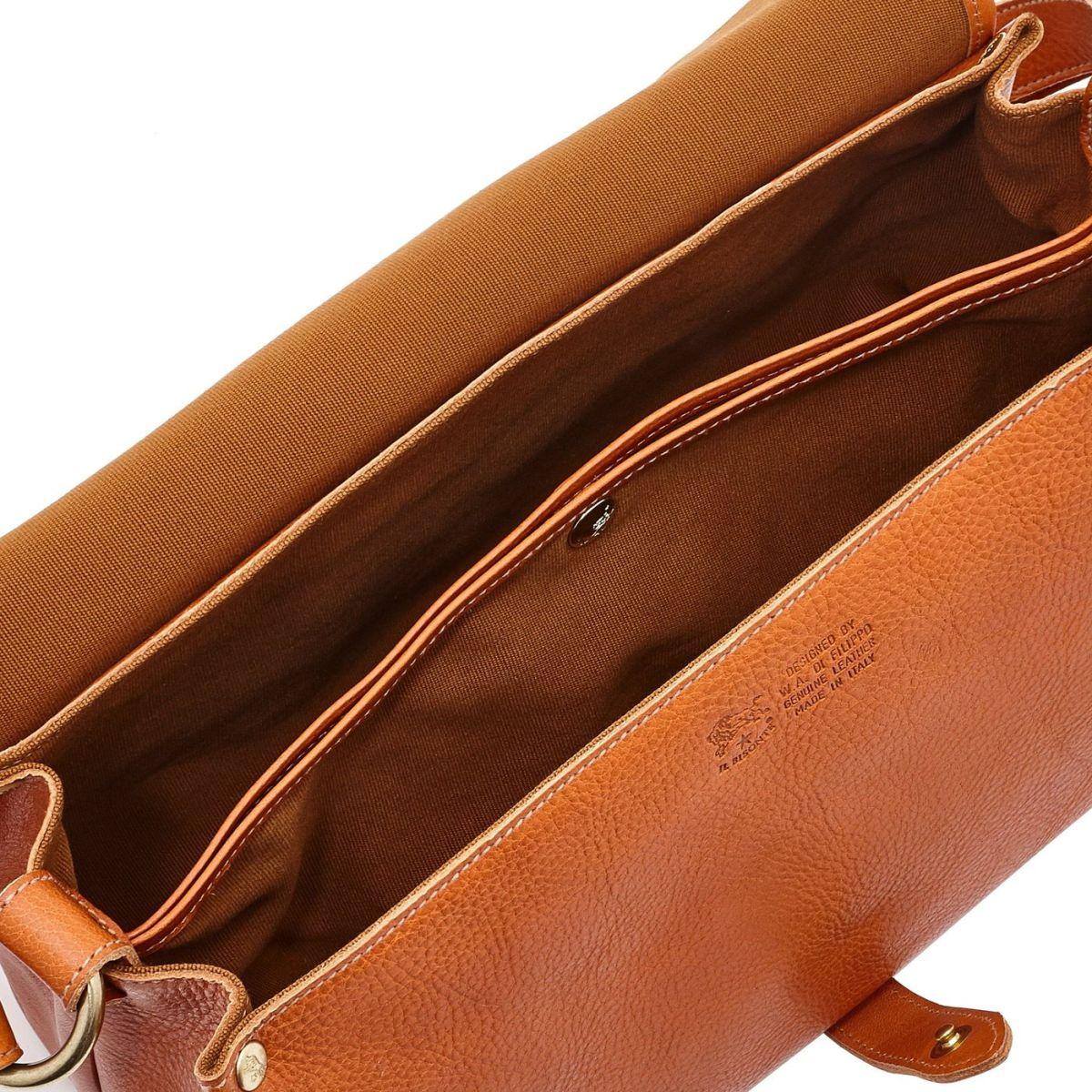 Women's Shoulder Bag in Cowhide Double Leather BSH034 color Caramel | Details
