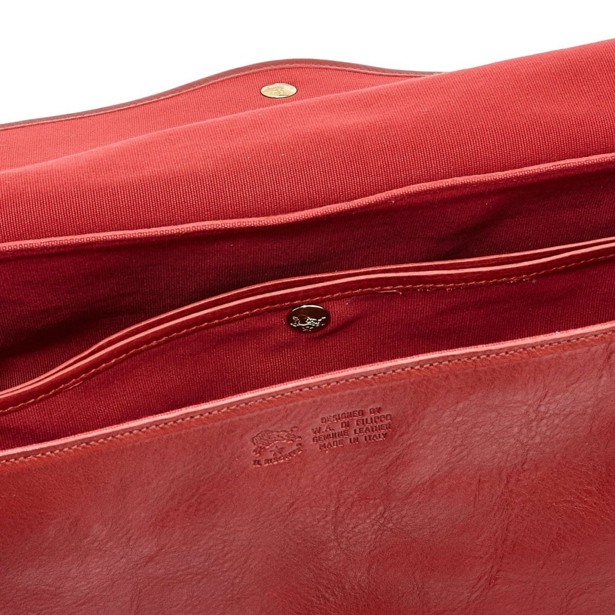 Women's Shoulder Bag in Cowhide Double Leather BSH034 color Red | Details