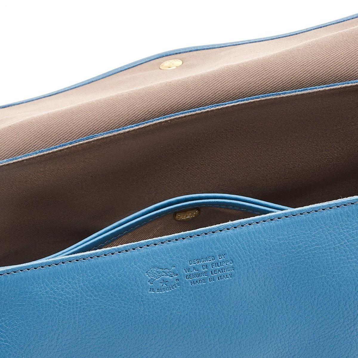 Women's Shoulder Bag in Cowhide Leather color Blue Teal - BSH034 | Details