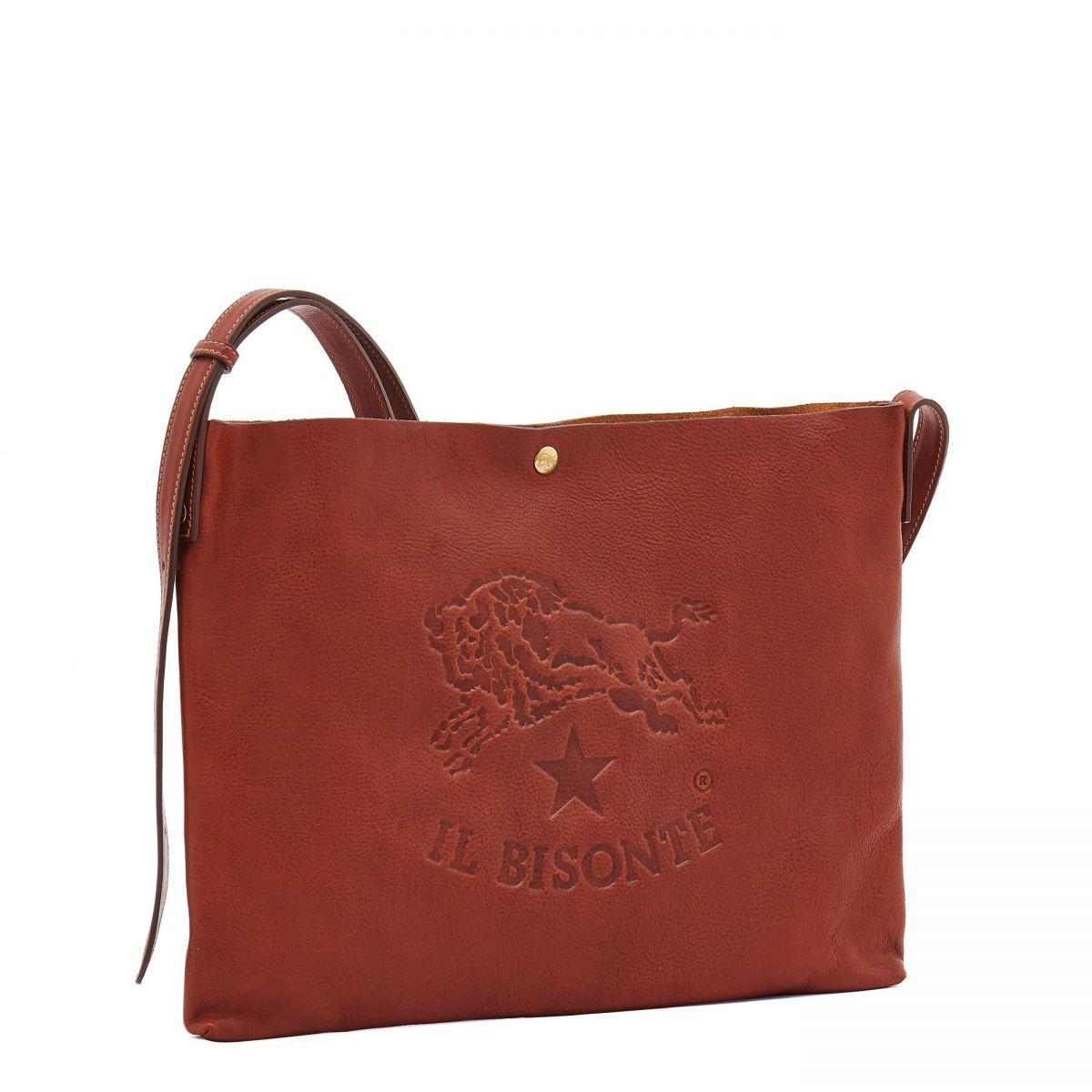 Men's Shoulder Bag in Vintage Cowhide Leather BSH042 color Dark Brown Seppia | Details